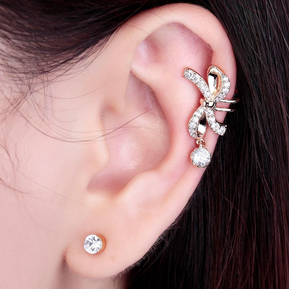bow ear cuff, no piercing bow ear clip, no piercing ear clip and non piercing bow ear cuff
