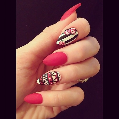 nail art, nails, red nails, stiletto nails, tribal print  image