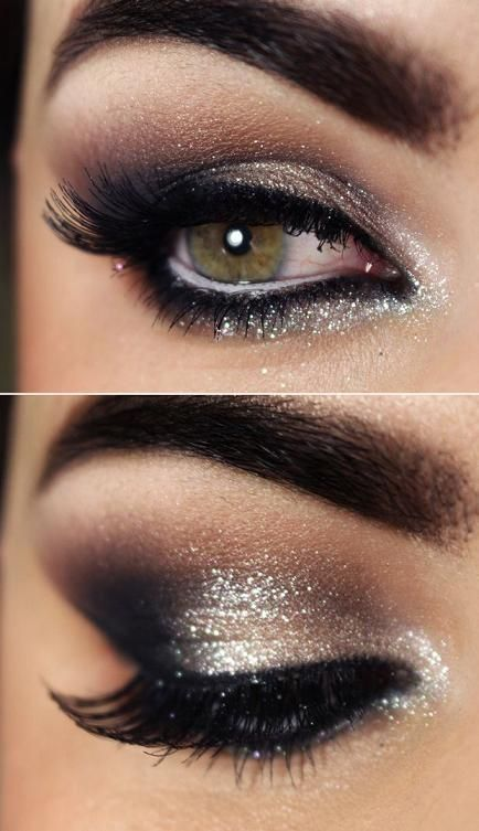 eye makeup, eyes and thick eyebrows