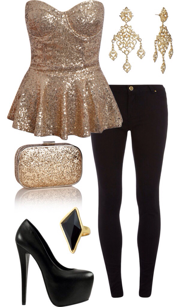 Black clothes fashion glitter gold heels outfit pants party outfit sparkle style ...