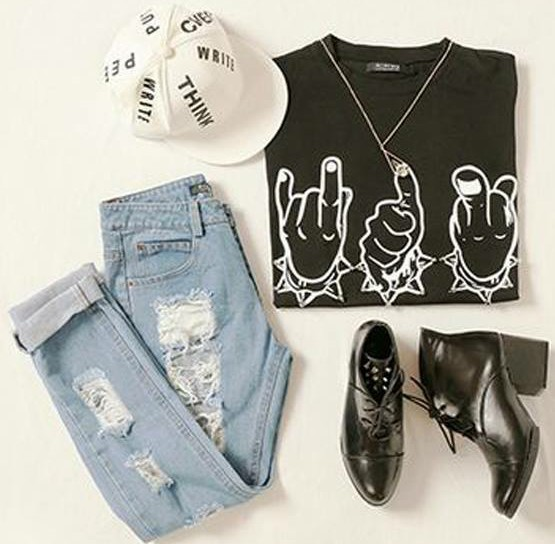 black and white, jeans, rock and shirts