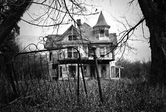 abandoned, black and white, dark and haunted