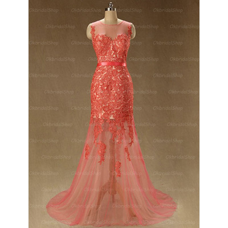 long prom dress, mermaid prom dress, red prom dress and Lace Prom Dress