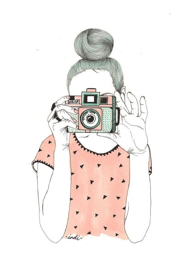 Drawing Of Girl With Camera Cute Image