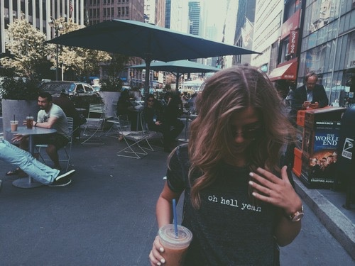 beautiful, blonde hair, city, coffee, girl, glasses, hair, tumblr