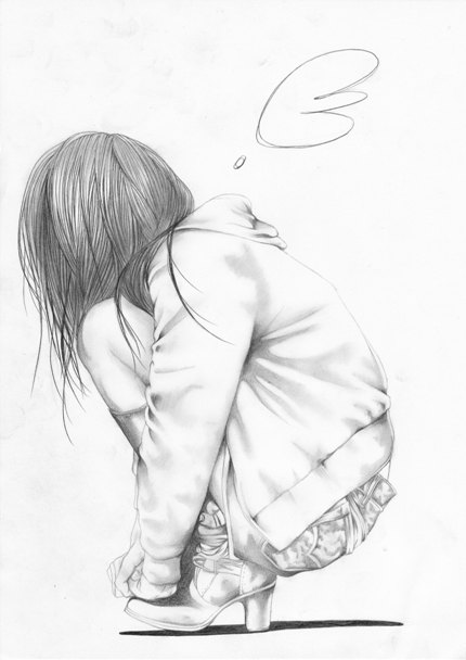 Alone Art Drawing Girl Lonely Painting Pencil Squat