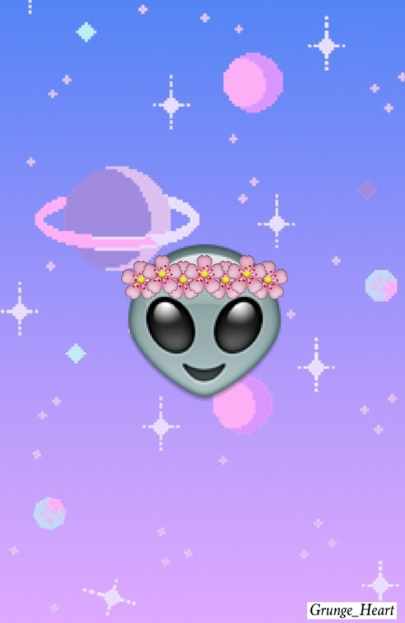 alien, amazing, background, emoji, flower crown, galaxy ...