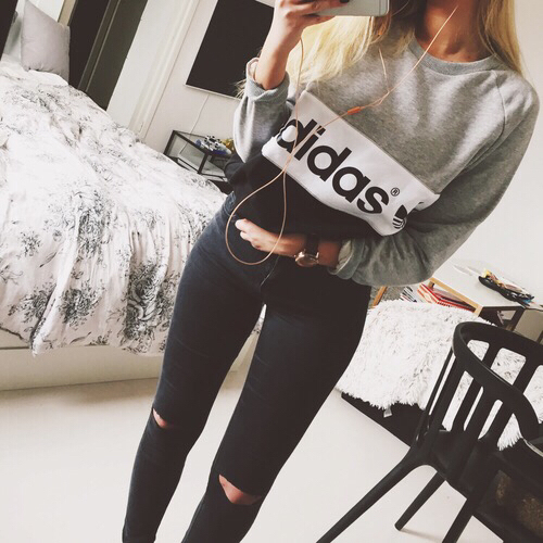 Ripped on fleek black adidas selfie goals white outfit jeans girl fashion u2665 - image ...