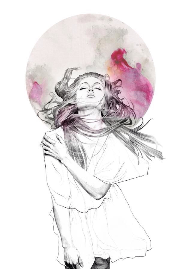 art, draw, drawing, girl, girly, hair, inspiration, painting, pink, red, watercolor, drawspiration
