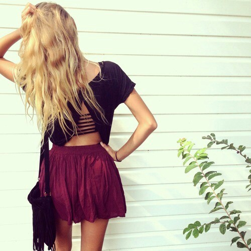 April Bag Blonde Crop Top Fashion Girl Hipster Long Hair Luxury Outfit Skirt Spring