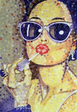 art, draw, drawing, girl, hair, inspiration, lipgloss, lips, lipstick, painting, sunglasses, watercolor, drawspiration