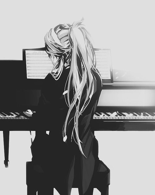 Black and white long hair notes lady beautiful keyboard music