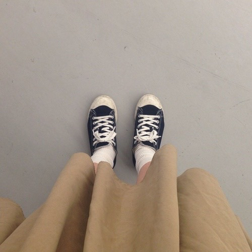 aesthetic, blue, brown, clothes, fashion, grunge, outfit, pale, pastel, shoes, skirt, soft, trainers