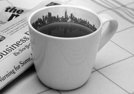 art, black, black and white, city, coffee, cold, cool, cozy, cup, design, drink, hot, mood, news paper, white