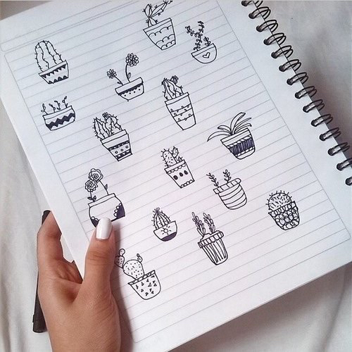 black, cacti, cactus, cute, doodle, nails, notebook, pen ...