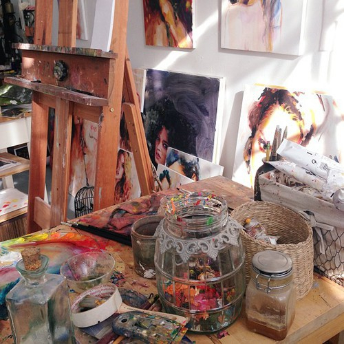 acrylic, art, artwork, basket, canvas, jar, paint, paintbrush, painting, paper, theme, water