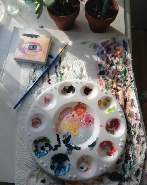 acrylic, art, artwork, canvas, eye, paint, paintbrush, painting, paper, plant, theme, towel