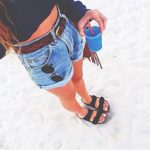beach, clothes, drink, fashion, girl, outfits, pretty, shorts, style, summer, birkenstocks