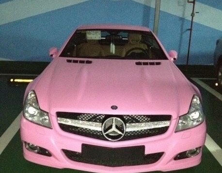 expensive, luxury, mercedez and pink cars