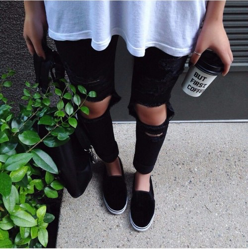 Beverage black coffee fashion grunge hipster indie outfit ripped jeans slip ons style ...