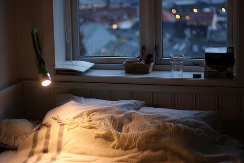 bed, bedroom, lamp, lights, room, snow, view, window, winter