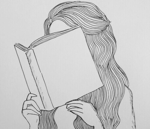 aesthetic, alternative, art, artistic, black and white, book, books, grunge, grunge girl, hair, hipster, indie, long hair, pale, scape, vintage
