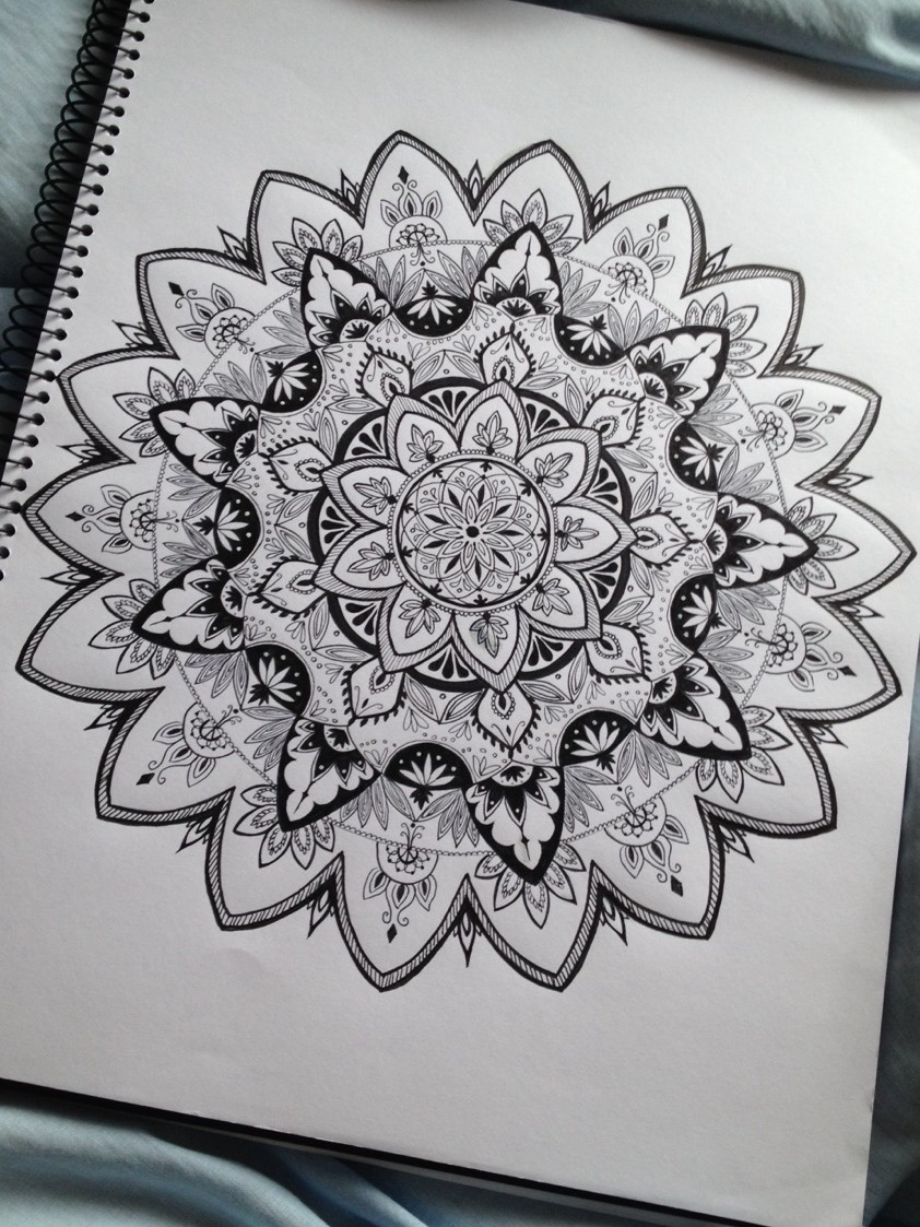 black, drawing, mandala and white