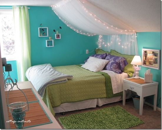 bedroom blue canopy diy girly green light lights
