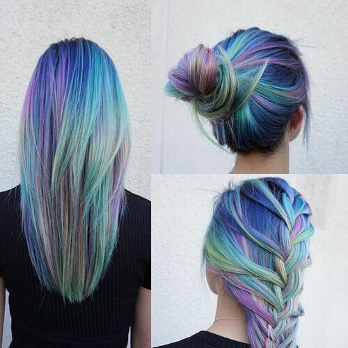 long hair, hair color, hair bun, colorful hair, rainbow hair, purple hair, hair, yellow hair, color, hipster, dyed hair, indie, braids, rock, alternative, green hair, rainbow, braided hair, blue hair, braid, rocker chick, First Set on Favim.com