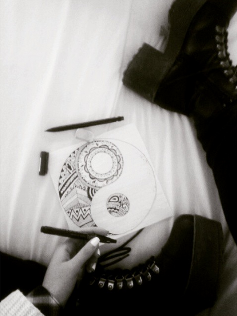art, black and white, boats, cold, cool, draw, drawing, girl, holiday, like, nails, outfit, pencil, winter, ying yang