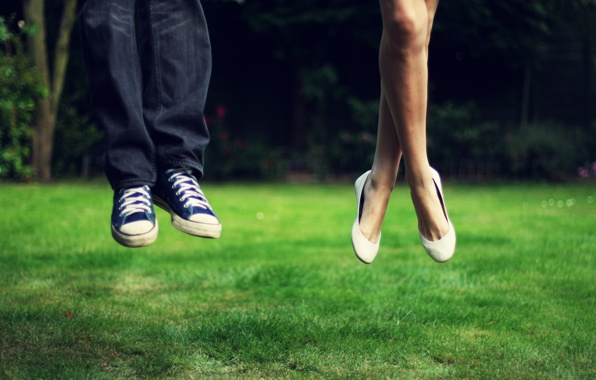 chucks, girl, grass, greenery, jeans, jump, laces, landscape, legs, man, meadow, nature