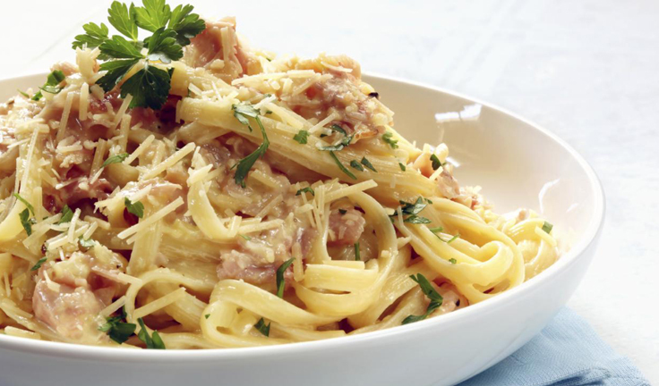 bacon, carbonara, cheese and food