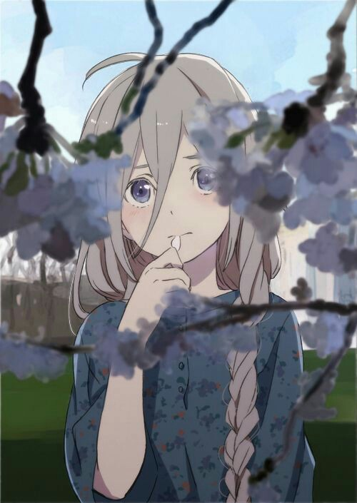 anime girl, art, colors, cute, flowers, girl, kawaii, sad, shy, kawaii ...: http://favim.com/image/3142614/