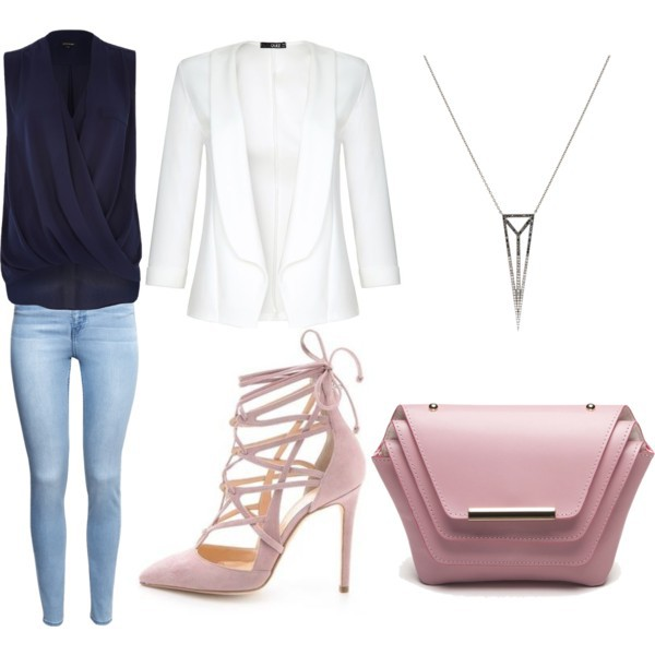blazer, clutch, fashion, geometry, h&m, heels, inspiration, jeans, look, necklace, outfit, polyvore, river island, style, top