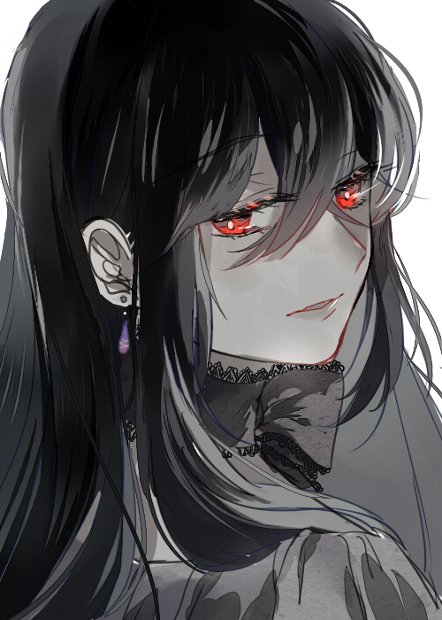 anime girl, beautiful, black hair, red eyes, lacie baskerville