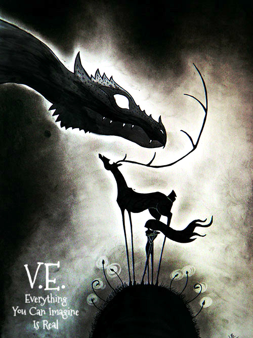 art, black and white, dragon, drawing, fantasy, illustration, stag, surreal
