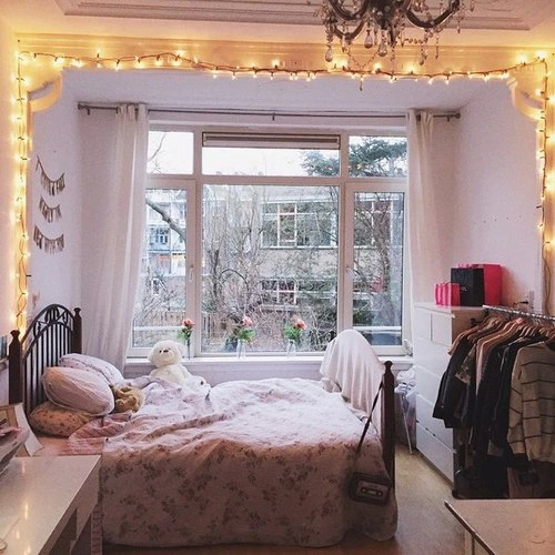Beautiful Bedroom With Flowers : beautiful, bed, bedroom, flowers, girly, lights, perfect, room - image ...