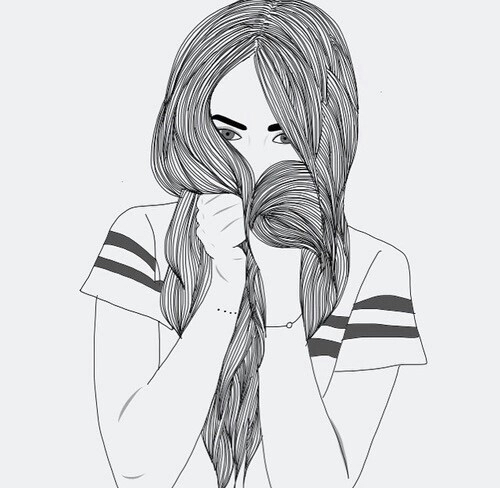 art, black, drawing, girl, grunge, hair, hand, lines, outlines, stripes, top, tumblr, white