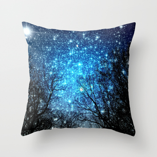 blue, forest, glowing, home, night, otros, pillow, sky, star, stars, stuff, tree, trees, woods, luminescent