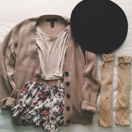 cardigan, fall, fashion, hat, outfit, shorts, style, knee ​high socks