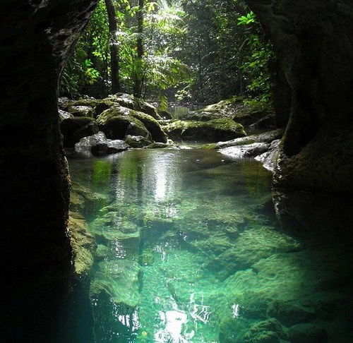 cave, forest, green, lake, nature, perfect, river, summer, tropical, water