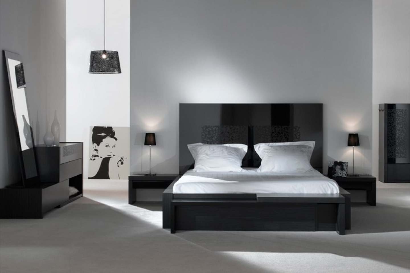 Modern Black And White Bedroom Ideas With Furniture Set Image