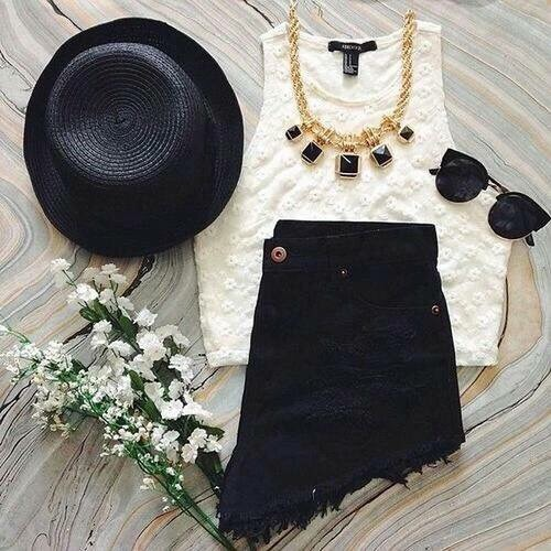 black, black and white, clothes, clothing, crop top, cute, distressed, fashion, flowers, frayed, girly, gold, hat, hipster, jewellery, ripped, shade, shorts, style, summer, sun, sun hat, sunglasses, top hat, tumblr, white, frayie