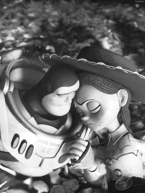 black and white, buzz, couple, cute, jessie, love, toy story, tumblr