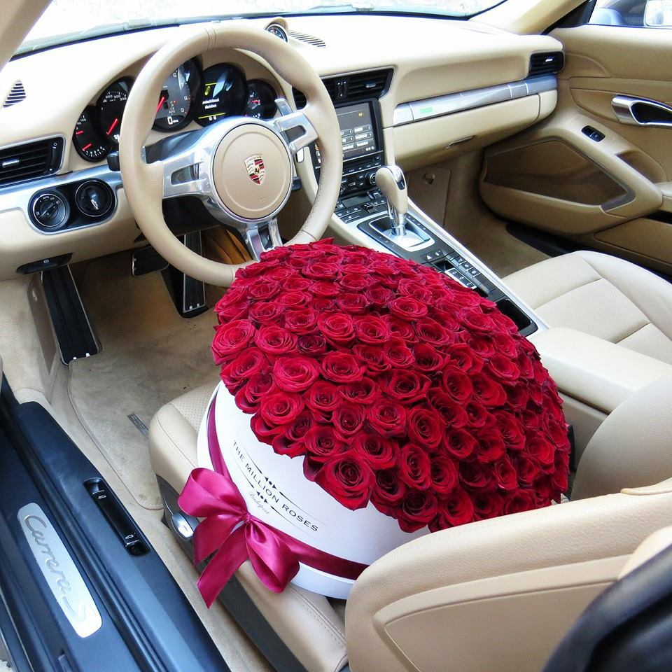 amazing, beautiful, car, expensive, flower, flowers, gift, luxury, luxury car, nice, porsche, red, red rose, red roses, romantic, rose, roses, surprise