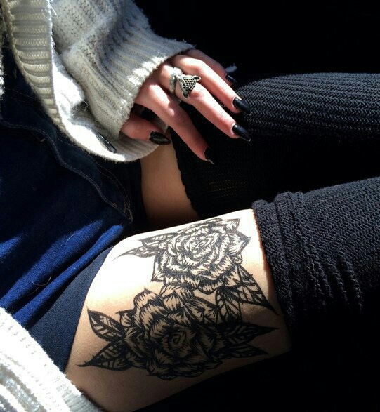 accessories, black, clothes, cute, knee socks, stockings, style, tattoo