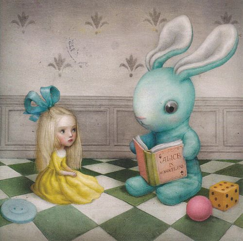 alice in wonderland, art, cute, lowbrow, nicoletta ceccoli, pop surrealism, surreal