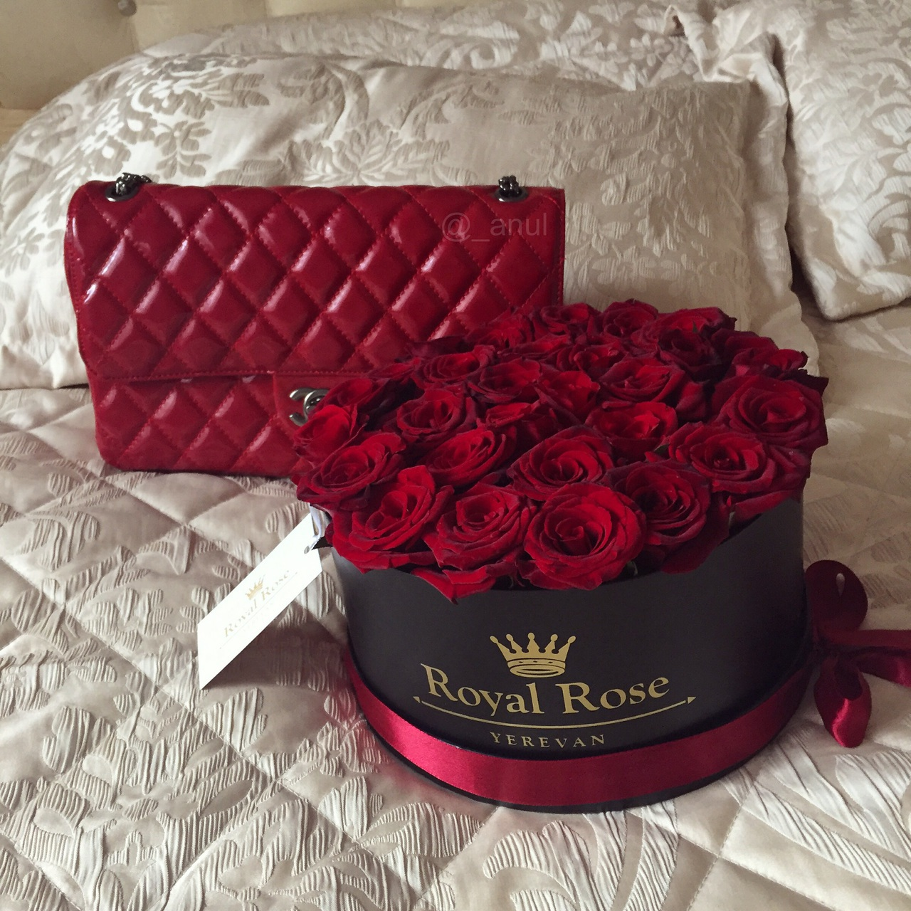 chanel bag, classic, flowers, luxury, red, roses, roses in a box