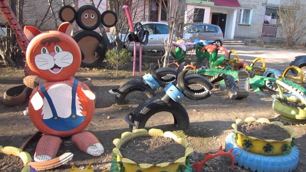 playground, Recycled Tires, Kid Crafts and Kids Playground
