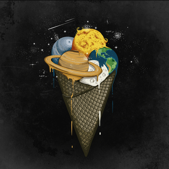 art, digital art, galaxy, ice cream, planets, space, tumblr